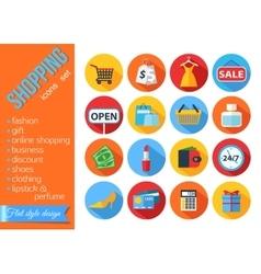 set flat shopping icons vector image