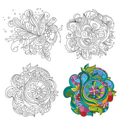 set of abstract line art patterns for vector image