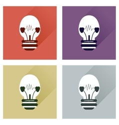 Set of flat icons with long shadow love power vector