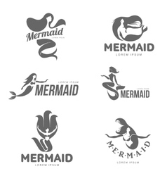 Set of stylized black and white graphic mermaid vector