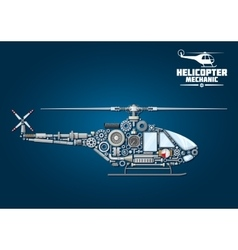 silhouette mechanical detailed helicopter vector image