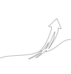single one line drawing flying up arrow symbol vector image