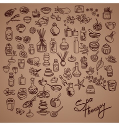 Spa doodle icons set vector