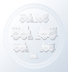 steam locomotives inside of railway circle vector image
