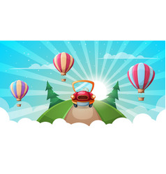 Summer cartoon landscape car road air balloon vector