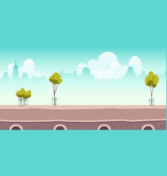 Summer river promenade or bridge with green trees vector