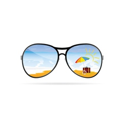 sunglass with beach art vector image