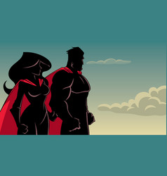 superhero couple standing together silhouette vector image