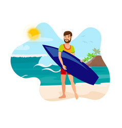 surfing active recreation flat color vector image