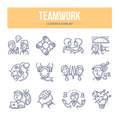 Teamwork doodle icons vector