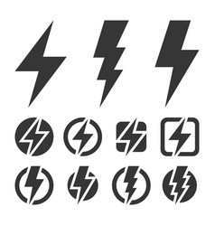 Thunder and bolt lighting flash icons set vector