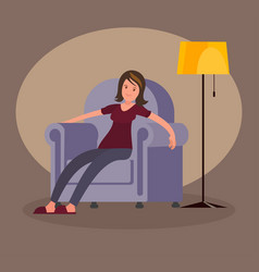 tired woman sitting in an easy chair vector image