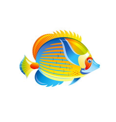 Tropical fish angel butterfly fish exotic vector