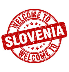 Welcome to slovenia red round vintage stamp vector