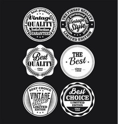 white and black vintage labels collection 1 vector image