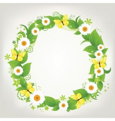 wreath from chamomile and butterflies vector image