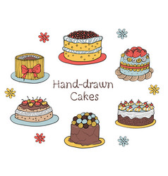 set of hand-drawn cakes vector image vector image