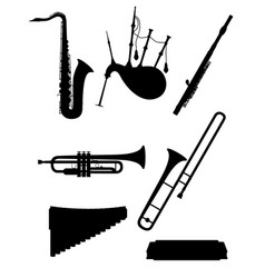wind musical instruments set icons black outline vector image