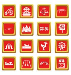 amusement park icons set red vector image
