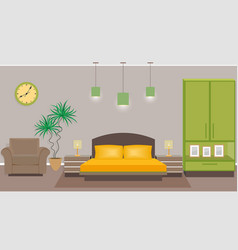 bedroom interior with furniture including bed vector image
