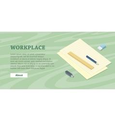 Desk with sheet of paper pencil ruler eraser flash vector