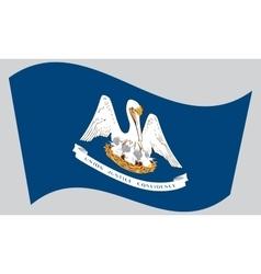Flag of Louisiana waving on gray background vector image vector image