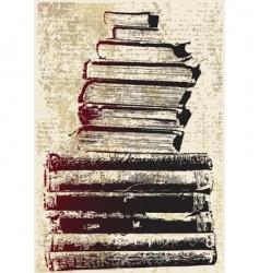Grunge book stack vector