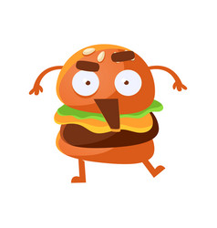 Indignant funny burger with big eyes and opened vector
