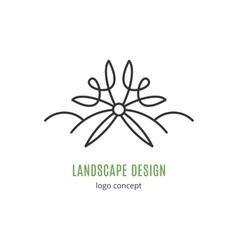 Landscape design logo concept Line icon art vector image vector image