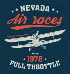 Nevada t shirt with old airplane vector