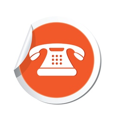 phone icon orange sticker vector image