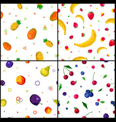 polygonal fruits 4 seamless patterns icons vector image vector image