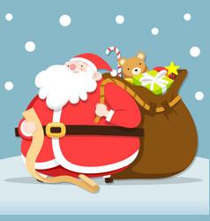 santa claus checking list for give christmas vector image