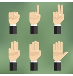 Set of counting hand sign from one to five vector image vector image