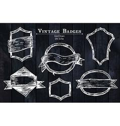 Vintage sketched badges vector image vector image