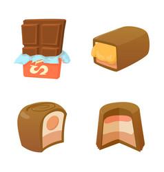 chocolate icon set cartoon style vector image