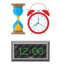 Clocks set hourglass analog and digital clock vector image vector image