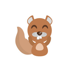 cute beaver animal character funny vector image