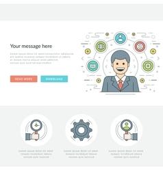 Flat line Business Management Concept vector image vector image