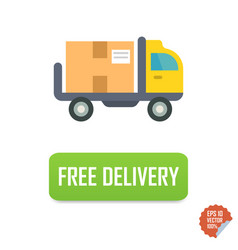 free delivery button with truck free delivery vector image vector image