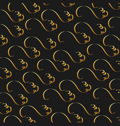 golden calligraphic flourishes decorative ornament vector image