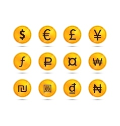 Golden coins with main worlds currency signs vector image