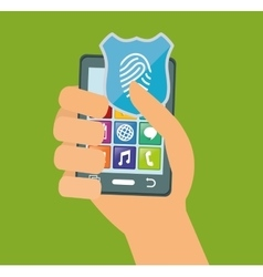 Hand holds smartphone internet security vector