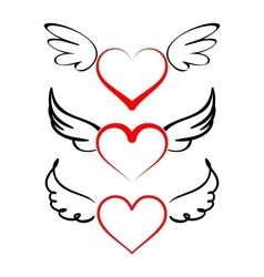 Heart with wings collection cartoon vector image