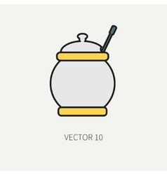 Line flat color kitchenware icons - sugar vector