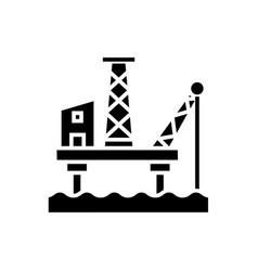 oil platform icon black sign vector image