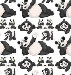 Seamless background with cute panda vector image vector image