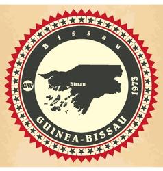 Vintage label-sticker cards of Guinea-Bissau vector image