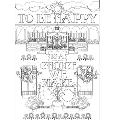 Adult Coloring Page with Inspirational Fraze vector image