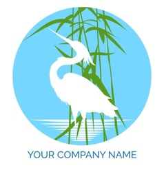 Conservation company logo design with heron vector image vector image
